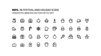 Festival, holiday mini line, illustrations, icons
