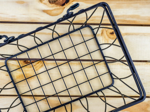 wire basket on a wood box