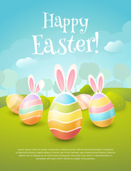 "Vector greeting card with title ""Happy Easter!"". Cartoon spring scene with cute colored eggs and ears of a bunny. Holiday background with trees, bushes and place for text."
