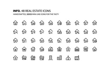 Real estate mini line, illustrations, icons