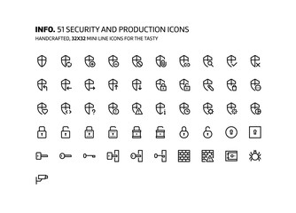 Security mini line, illustrations, icons