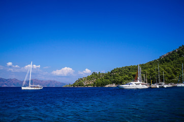 Turkey. Marmaris. Summer 2015. A yacht in the Mediterranean sea.