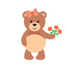 cartoon bear girl with flowers
