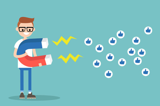 Social media marketing concept. Young nerd attracting likes with a huge magnet / editable flat vector illustration