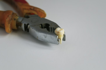 ripped out a rotten tooth in an old rusty pliers
