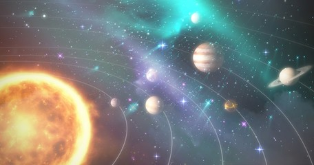 Graphic image of various planets with sun 3d