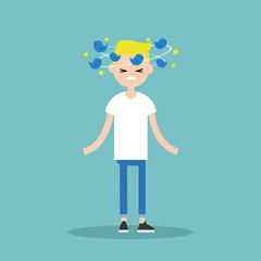 Dizziness conceptual illustration. Young blond character with birds spinning around his head / flat editable vector illustration