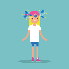 Dizziness conceptual illustration. Young blond girl with birds spinning around her head / flat editable vector illustration