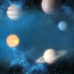 Graphic image of various planets 3d