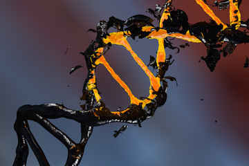 3d DNA molecule consists of the collapsing of moving particles. Genetic mutation and combating viruses.  Science and medic concept background. Destroyed structure. Nano technology. Orange and black.
