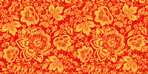 Hohloma in red and gold colors seamless pattern vector. Russian traditional decoration design