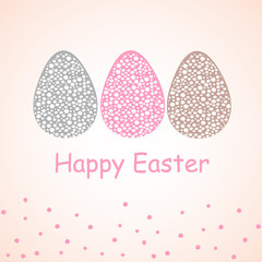 Vector easter greeting card. Three Easter eggs of different colors