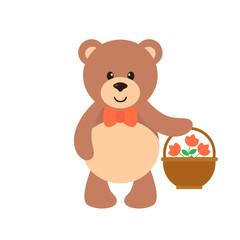 cartoon bear with flowers and basket
