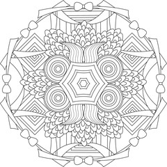 Black and white pattern for coloring book. Vector elements for design. Good for design of wrapping and textile.
