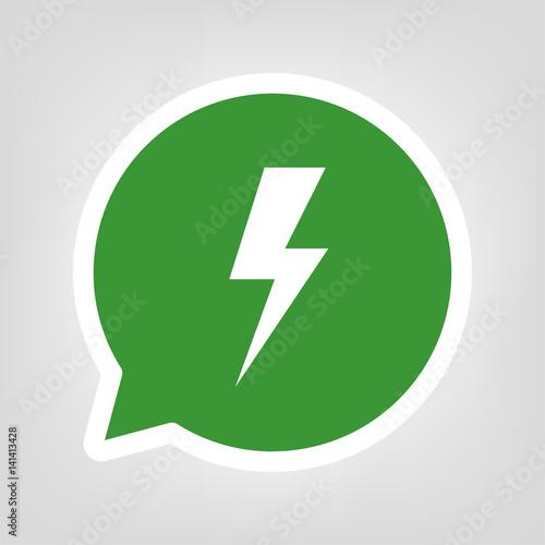Grüne Sprechblase - Blitz - Elektrizität\