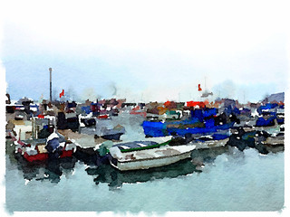 Digital watercolor painting of fishing boats and dinghies in a marina in Portugal on a cloudy day with space for text.