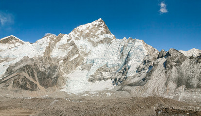Panoramic view of the Mount Everest and Nuptse peak from Kala Patthar - Nepal, Himalayas