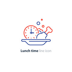 Lunch plate, tasty dinner, main course clock icon