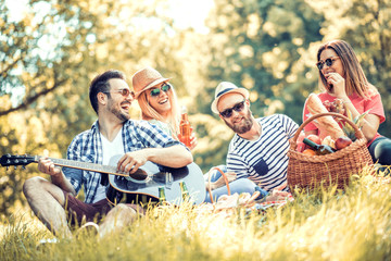 Happy young friends having picnic in the park Wall mural