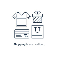 Shopping special offer, bonus card loyalty program concept