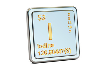 Iodine I stibium, chemical element sign. 3D rendering