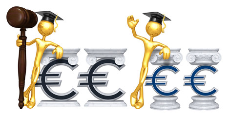 Education Lawyer Leaning On A EuroThe Original 3D Character Illustration