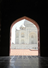 Iconic Taj Mahal view from the adjacent mosque
