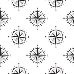 Seamless pattern with the image of a vintage windrose on a white background isolated. The device allows to determine the direction of the cardinal points and prevailing wind direction.