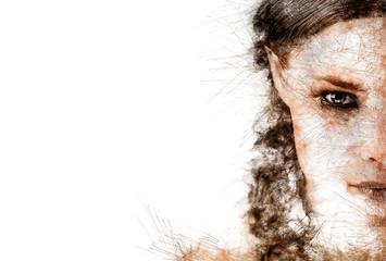 Half face of a young woman. Digital art