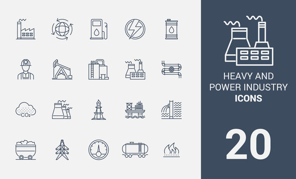 A package of symbols of heavy industry. Icons of factories and factories. Set of icons line. Icon set.