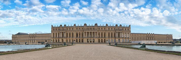 Versailles palace rear facade,symbol of king louis XIV power, France.Panoramic view