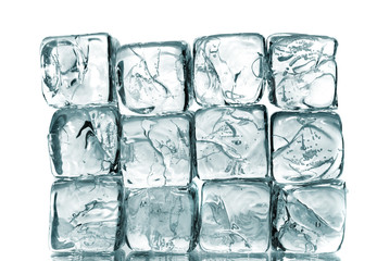 ice cubes wall on white background