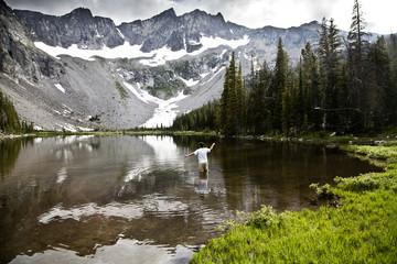 Man fly-fishing in lake in mountains