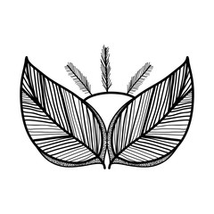 rustic feathers with leaves decoration