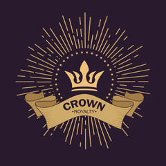 Golden crown vector. Line art logo design. Vintage royal symbol of power and wealth. Curved ribbon for text. Rays of glory and stars. Creative business sign. Elegant emblem logo.
