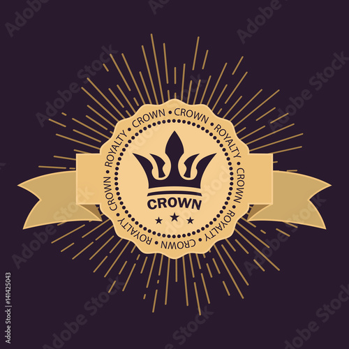 Golden Rays Of Glory And Stars Curved Ribbon For Text Vector
