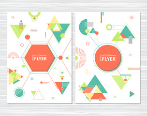 Retro flyer, chaotic geometric shapes. Colorful hipster background