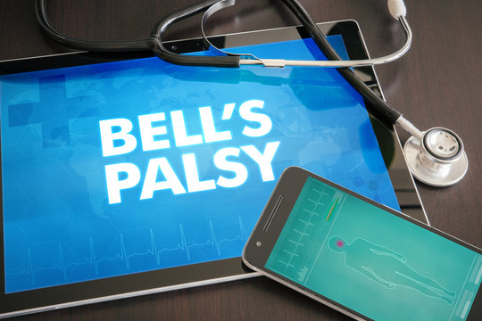 Bell's palsy (neurological disorder) diagnosis medical concept on tablet screen with stethoscope