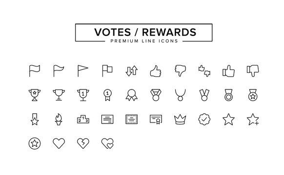 Votes Rewards outline icon set