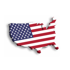 3D map of USA, aka United States of America, in a shape of US map. Vector illustration with dropped shadow isolated on white background.