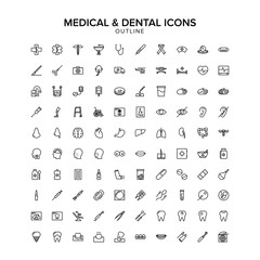 medical and dental outline icon set