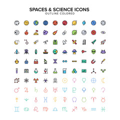 spaces and science outline icons colored set