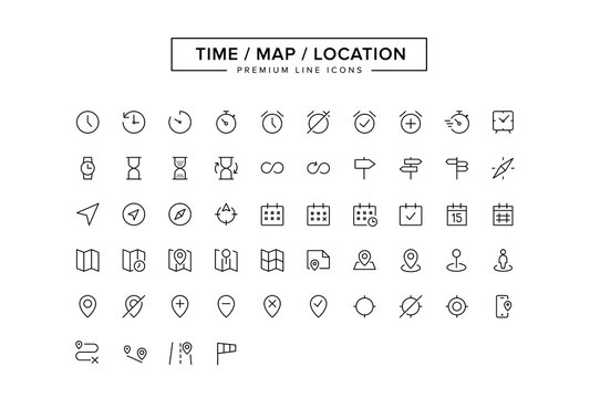 Time Map Location Line icon set
