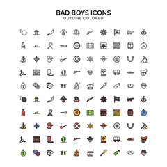 bad boys, pirates, cowboys outline colored icons