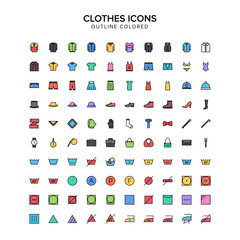 clothes outline colored icon set