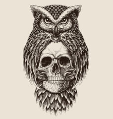 Poster Owls cartoon Elaborate drawing of Owl holding skull