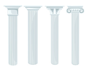 Column icon set for interiors Flat design style vector illustration.