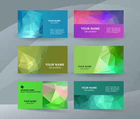Business card background blue triangle mosaic horizontal templates02