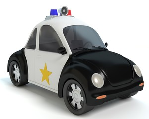 3d illustration of a cartoon police car