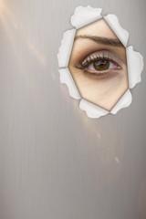 Composite image of close-up portrait of woman face 3d